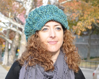 Blue Green Newsboy Hat - Crochet Hat with Brim - Women's Accessories - Women's Hat - Crochet Newsboy Hat for Women - Chemo Hat