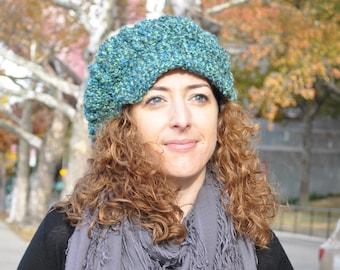 Blue Green Newsboy Hat - Crochet Hat with Brim - Women's Accessories - Women's Hat - Crochet Newsboy Hat for Women - Chemo Hat