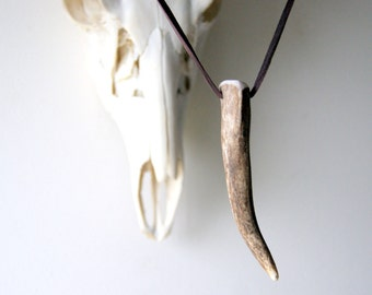 Brown Antler Necklace, antler necklace, antler tip necklace, real antler necklace, brown deerskin cord - Antler Pendant - boho chic