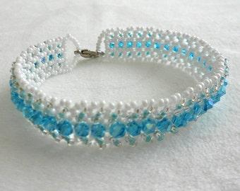 Beaded Bracelet - Bead Bracelet - Blue Ice Crystal Bracelet - Ready to Ship