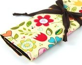 Knitting Needle Case - Happy Sky - IN STOCK Large Organizer 30 brown pockets for all size needles or paint brushes