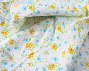 ON SALE Vintage Floral Fabric Sweet Cottage Chic Seersucker Pastel Material Over 2 Yards