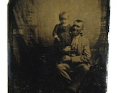 Antique Victorian Tintype Photograph Proud Father and Child with Great Expressions Circa 1860