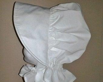 White Sun Bonnet for Baby Girls - Sizes Newborn to 24 Months