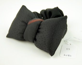 Scrunchie with a big puffy bow Black 03