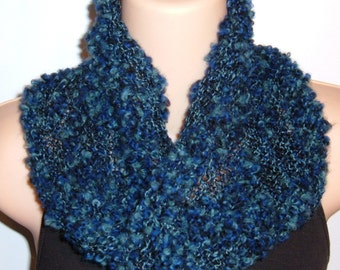 Hand Knit Wool Cotton Moebius Scarf DEEP SPACE blue black