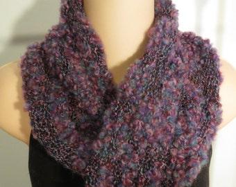 Hand Knit Wool Cotton Moebius Scarf Winter Berries pink blue purple black