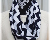 CLEARANCE Infinity Chevron Infinity Scarf Navy White