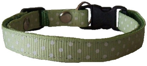 """See Spot White PRE-MADE Cat Collar (5.5"""" - 8"""" neck size) CLEARANCE"""