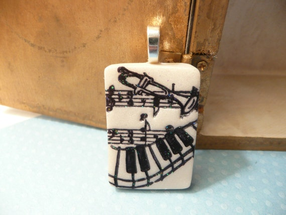 Music Notes Pendant or Pin Brooch, Musician Jewelry, beige and black, polymer clay fashion jewelry