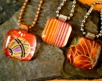 Fused Glass Pendants with Chains, Glass Pendants with Japanese Washi Paper in Reds,  Washi, Chiyogami, Glass Jewelry, Willow Glass