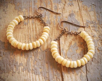 rustic, boho ivory cream bone hoop earrings on oxidized sterling silver by val b.