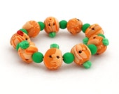 Pumpkin Head Bracelet - Halloween Handmade Polymer Funny Clay Faces on Every Bead - Orange