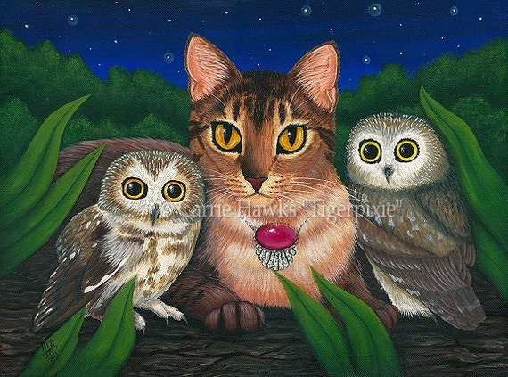 Cat Owls Art Original Cat Painting Midnight Watching Forest Fantasy Cat Art Original Canvas Painting 12x16