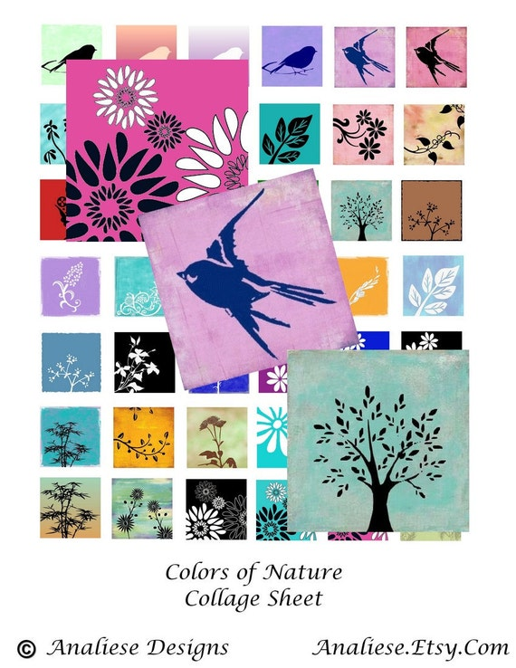 Colors of Nature  - Instant Download -  Digital Collage Sheet - 1 Inch Squares