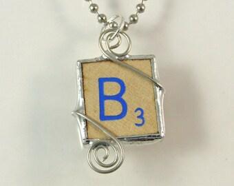 Blue Letter B Scrabble Pendant
