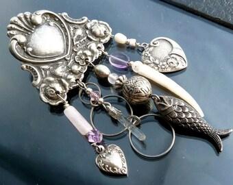 Victorian Brooch pin Amethyst purple quartz crystal fish heart Chandelier Steampunk silver
