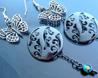 Big Long Butterfly Earrings ocean waves over gunmetal with blue green crystals and chain gothic