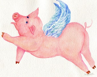 watercolor painting - Flying Pig  original, watercolor art - when pigs fly 8 x 10, pig art. pig  with wings illustration