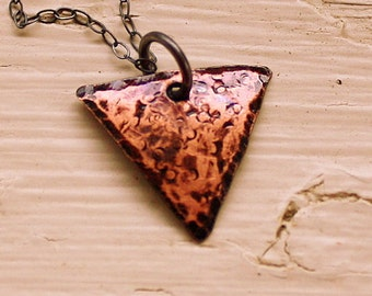 Small Rustic Triangle Necklace - Hammered Copper Pendant - Geometric