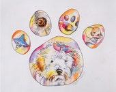 Custom Pet Portrait Painting Dog Cat Paw Portrait original Art watercolor