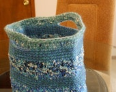 NEW Handmade Crochet Basket / Shopping Bag a shimmer confetti variegated blue yarn white turquoise navy purple green