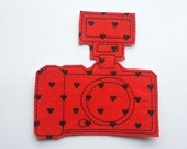 Iron On Patch Camera Applique with Flash in Red and Black