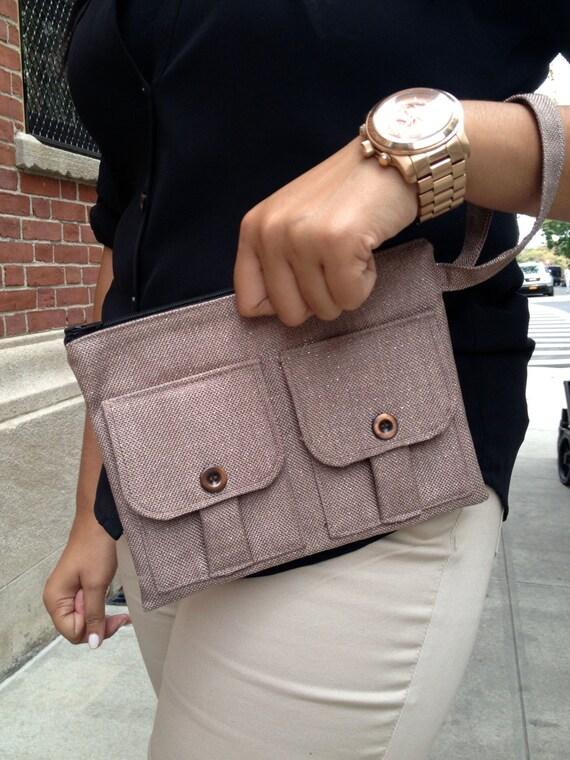 Wristlet Wallet - Bronze Linen Shimmer Women's Wallet Wristlet