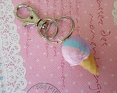 Miniature Food Keychain: Rainbow Sherbert Ice Cream Keychain, Polymer Clay Food Keychain, Food Key Ring