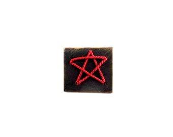 Red silk star Brooch Lapel Pin Tie Tack