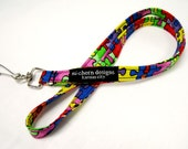 Short or Long Fabric Lanyard for ID Whistle Keys - puzzle autism awareness