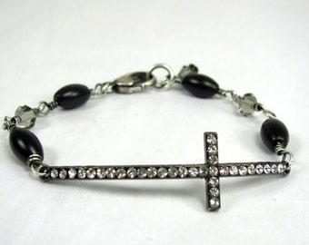 Mixed Metal Bracelet, Cross, Black Onyx, Swarovski, Sterling Silver Bracelet