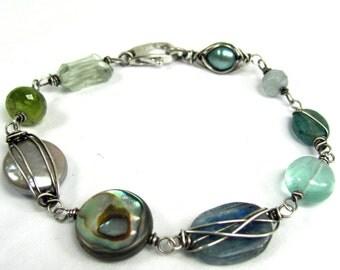 Beach - Pearl, Abalone, Kyanite, Aquamarine, Apatite, Sterling Siver Bracelet