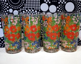 4 Vintage Drinking Glasses 70s Tumblers Drinking Glasses Dining Entertaining Hippie Bohemian Pink Red Orange Flower Power Housewares Floral