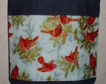 New Large Handmade Cardinals Holly Winter Christmas Denim Tote Bag
