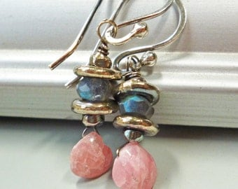 Pink Earrings Petite Small Gray Gemstones Beaded  Sterling Silver Matching Bracelet