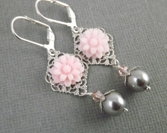 Pink and Gray Silver Filigree Flower and Pearl Earrings
