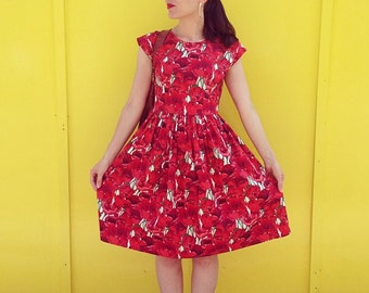 Poppy print dress 1940s style cap sleeve dress choose your length summer cotton floral dress red