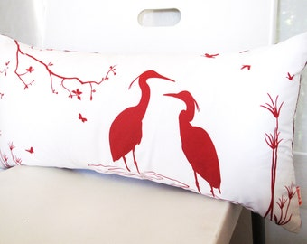 SALE - Red Print on Off White Cotton Egret Lovers in the Swamp Rectangle Pillow