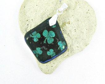 Fused Glass Jewelry / Dichroic Green Shamrocks Pendant