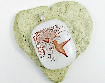 Fused Glass Jewelry - White Hummingbird Pendant