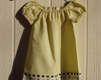 Flowers and Black Dots Peasant Dress,  Size 24 Months