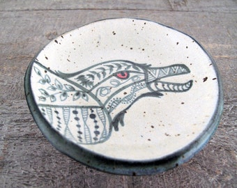 Raven Petite Stoneware Plate - Spoon Rest - Black and White - Tribal - Tatoo Look