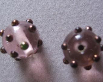 DESTASH - Matching Pink & Copper Glass Beads