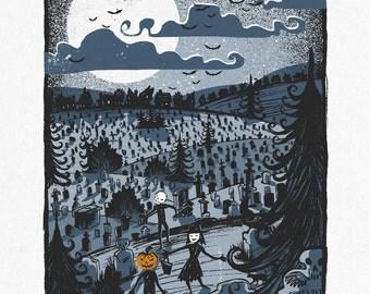 Trick or Treat - Screenprinted Art Print