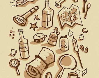 Camping Essentials - Mini Art Print