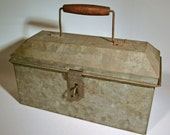 Antique Metal Box - Hand Made Tin Knocker - Hinged Lid and Handle - Vintage Found Object - Tool / Lunch Box - Industrail Primitive