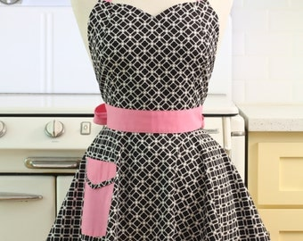 Retro Full Apron Sweetheart Neckline Black and White Art Deco Tiles with Pink BELLA