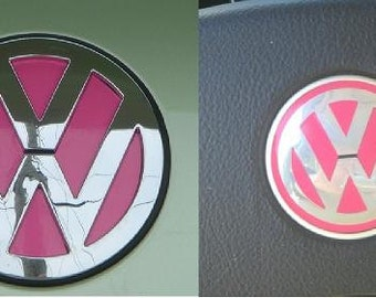 VW Beetle Emblem Vinyl Color Inserts for Steering Wheel AND Trunk AND Hood Emblems (2011 and older models) by Tonyabug Sticker Momma