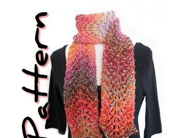 Bulky scarf knitting pattern pdf, Chunky Ripple Lace, easy written instructions, one skein